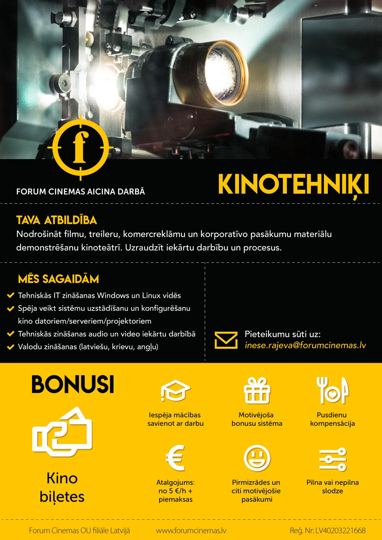 Forum Cinemas vakance - kino projekcija