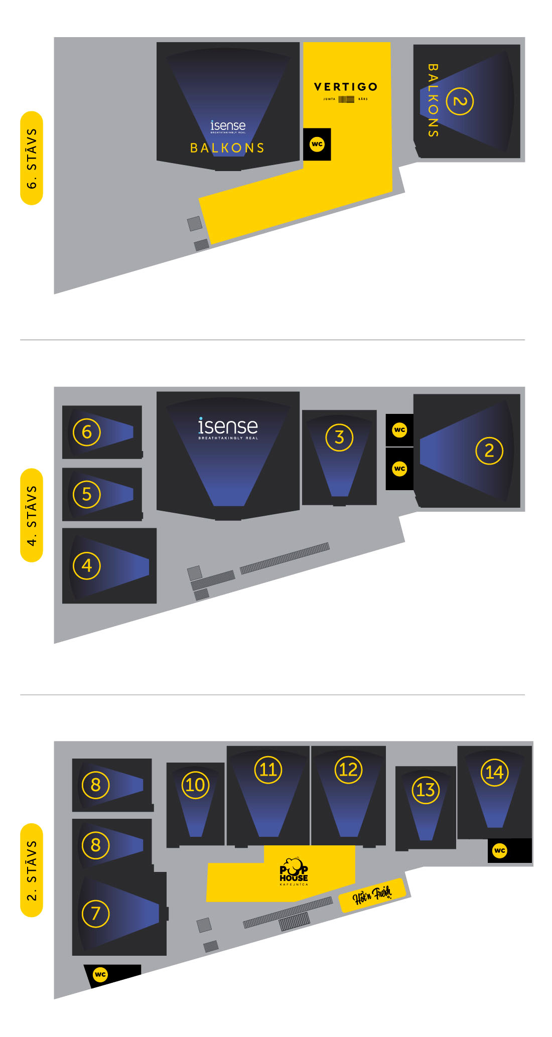 Kino Citadele - auditorium layouts